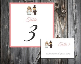Bride and Groom 25 Table Numbers and 250 place settings.  Personalized & printed Reception guests table decorations.