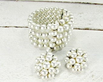 Vintage JAPANESE Pearl Jewelry Set, Pearl Wrap Cuff Bracelet, Pearl Clip-On Cluster Earrings, 1950s 1960s Wedding Bridal Prom Jewelry