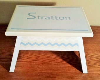 Step Stool or Foot Stool- Nursery-White with light blue and cream-Name Personalization-Chevron and Polka Dots-Childrens Stool-Toddlers Stool