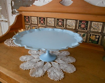French Country Silver Plate Cake Stand - Shabby Chic Cupcake Tray -  Salvage in Sky Blue