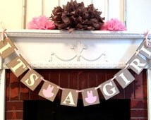 Ballerina Baby Shower Decorations - Its a Girl tutu garland - Its A Girl Banner -Shabby Chic Baby Shower Banners
