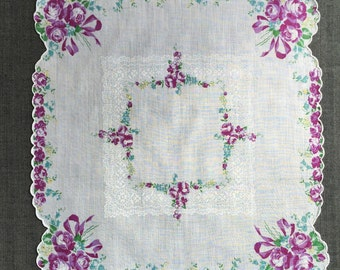 Vintage Purple and White Floral Handkerchief 1175