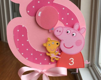 NEW - Peppa Pig Centerpiece with Age and Balloon, Choice of Colors and Age