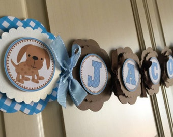 Puppy Baby Shower Name Banner