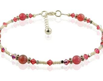 Romantic Pink Jade Gemstone Anklet