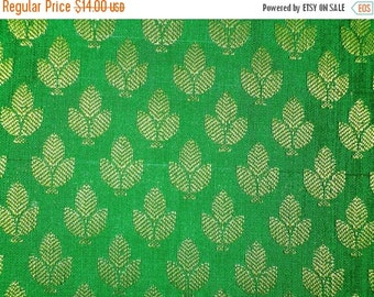 15% off One yard of lush  green silk brocade fabric