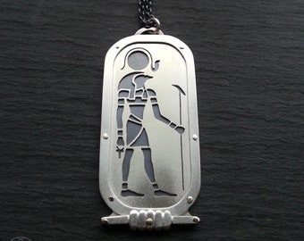 Egyptian Ra Pendant - handcut sterling silver and 9ct gold.