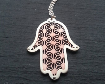 Small Hamsa Protection Pendant - sterling silver and copper - Handcrafted Sacred Geometry Jewellery