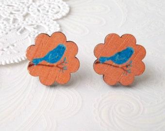 Wooden Floral Bluebird Stud Earrings