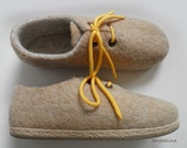 Outdoor wet felted shoes with rubber soles.Felted wool shoes in oatmeal beige yellow.Organic eco fashion women shoes. Woolen shoes.