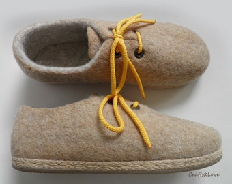Outdoor wet felted shoes with rubber soles, Felted wool shoes in oatmeal beige yellow, Organic eco fashion women shoes Woolen shoes