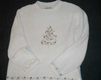 Vintage Sweater, Winter Sweater, Knit Sweater, Ugly Christmas Sweater, Retro Christmas Sweater, Winter White Sweater