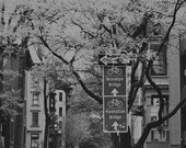 New York Art, Brooklyn Photography, Bicycle Wall Art, Brooklyn Prints, Bicycle Prints, Black and White Art, Street Sign Print, Bike Brooklyn