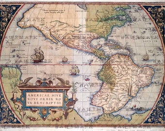 America world map (1573) download, scan of an old original map of the world, instant download high resolution jpg