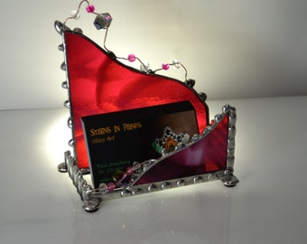 Feminine - Business Card Holder - Stained Glass - Professional Women - Desk Decor - Magenta - Custom - Office - Display - Card - Proffesinal