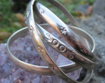 Authentic Vintage Mexican Solid Sterling Silver Stamped Bangle Bracelets Set of 4