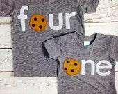 Chocolate chip Cookie Birthday Tee Organic Shirt Blend first birthday shirt cookie party milk children's birthday shirt