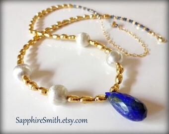 CLEOPATRA Lapis Lazuli Necklace, Gold Plated Freshwater Pearls, Bali Sterling, Gold Vermeil & 14kt Gold Filled, teal blue sapphire gems