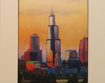 Hawkins Impressionist Art Chicago Skyline matted Giclee print on archival 100# heavy stock Gift Sale