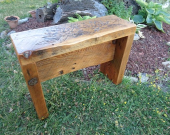 Reclaimed Barnwood Bench with Lotus and bud design