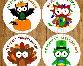 Baby First Holiday Milestone Stickers Boy or Girl - Owls Christmas School Halloween Easter Thanksgiving and More