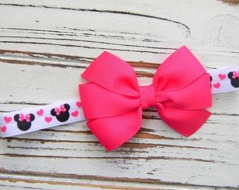 Minnie Bow Headband, Valentines Headband, Bow Headband, Pink Bow Headband, Valentine's Bow Headband