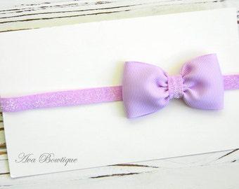 Lavender Bow Headband, Infant Headband, Baby Headband, Bow Headband, Lavender Glitter Headband