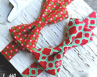 christmas bowtie, boys christmas bowtie, father and son ties, red and green lattice tie, christmas ties, boys christmas outfit