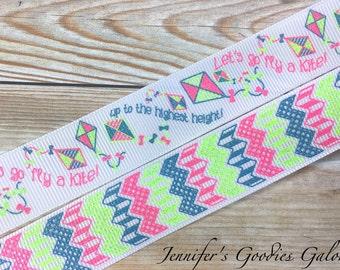 "Let's Go Fly a Kite Ribbon, 7/8"" Glitter Ribbon, Zig Zag Ribbon, Kites, US Designer Ribbon, Ribbon for Bows, Ribbon by the Yard"