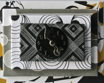 Handmade Box in Black, White and Yellow with Mid Century Watch Face for Gift and Decor