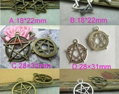 20PCS More specifications Antique Bronze / Antique Silver star, Five-pointed star, Pentacle Charms Pendants Charm