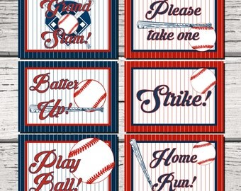 Baseball Party Signs. 5x7 Party signs. Baseball Party Decorations. Baseball Birthday. Baseball Baby Shower. Table Decor. Baseball Bat