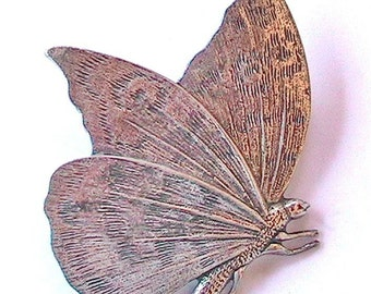 French 1950s Butterfly Brooch - Carved Sterling Silver - MADE IN FRANCE - Perfect