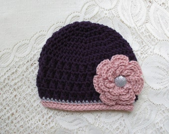 Dark Purple, Lt Raspberry and Lt Grey Textured Beanie - Photo Prop - Available in Any Size or Color Combination