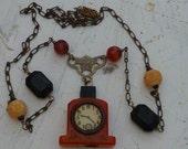 BAKELITE CLOCK pencil sharpener vintage antique assemblage necklace