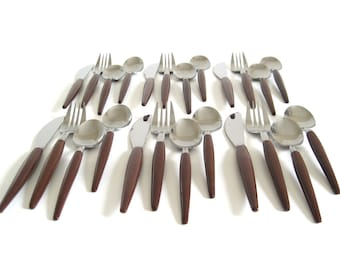 "Stainless Flatware Set ""Wood"" Handles - Basic Service for 6, Stainless Japan Brown Handle Silverware Danish Modern"
