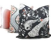 Decorative Pillow Cover Robert Allen Peacock Plume Redux  Square, Euro sham or Lumbar pillow, Vintage Plumes - Accent pillow- Throw Pillow