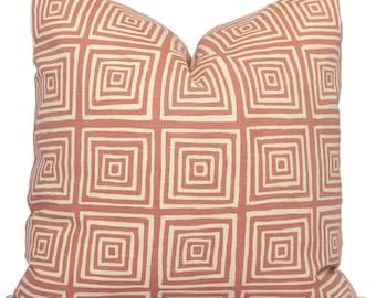 China Seas Ziggaurat Antique Rose Pink on Tint, Quadrille Pillow Cover Square, Eurosham or Lumbar pillow, Accent Pillow, Throw Pillow, Toss