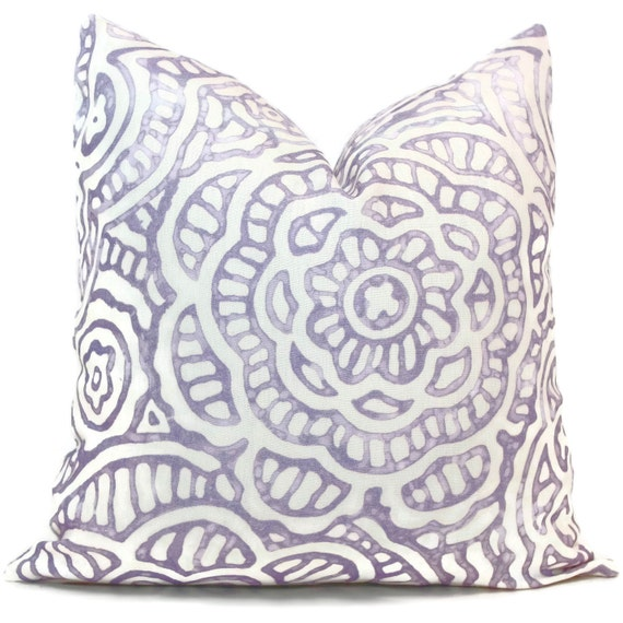 Lilac Floral Throw Pillow : Decorative Pillow Cover Linen Lilac Floral Throw Pillow
