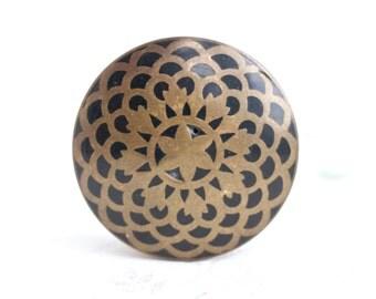 Brass Snuff Box or Pill Box - Black Flower Lid
