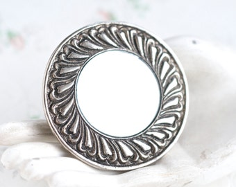 Pewter Pocket Mirror - Vintage Boho Hand Mirror in Leather Pouch