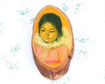 Inuit Child Picture - Wall Hanging Tree Slice - Made in Canada - Kitsch Home Decor