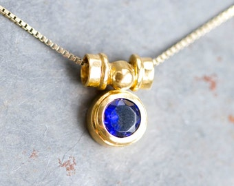 Cobalt Blue Necklace - Sterling Silver with golt bath short Necklace - Made in Italy