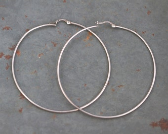 Sterling Silver Hoop Earrings - Large - 2.9 inches