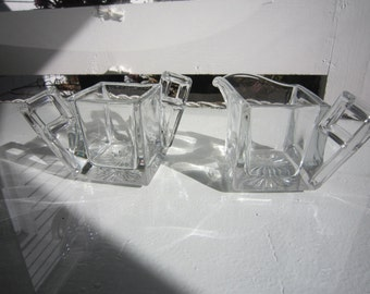 Cubic Style clear glass sugar and creamer set