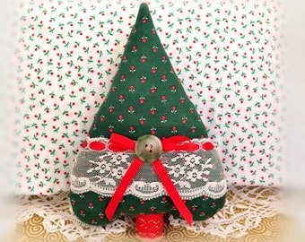 "Christmas Tree Ornament Fabric Tree Heart  7"" Free Standing Green with Red Tree Ornament Christmas in July CIJ Home Decor CharlotteStyle"