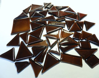 Brown Transparent Glass Kiln Formed for Mosaics 52 Pieces (848)