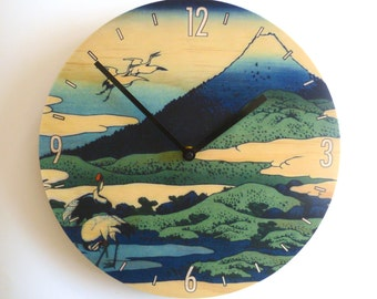 Objectify Cranes at Mt Fuji Wall Clock with Numbers and Markers- Medium Size