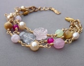 Swarovski Pearl Bracelet - Pink and Gold Bracelet with Rose Quartz, Hot Pink Agate, Cats Eye and Czech Glass with Rabbit Charm