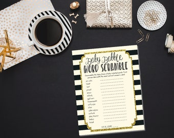 INSTANT DOWNLOAD printable baby shower game / baby scramble game /  baby word scramble / printable baby babble game / baby shower games